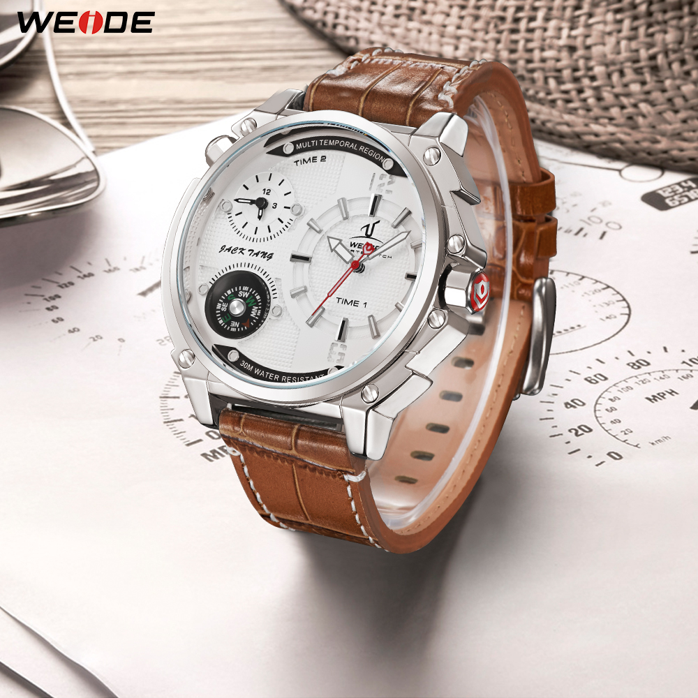 WEIDE Top Luxury Brand Mens Sports Model Casual Hour Quartz Movement Brown Leather Strap Wrist Watches Relogio Masculino Clock