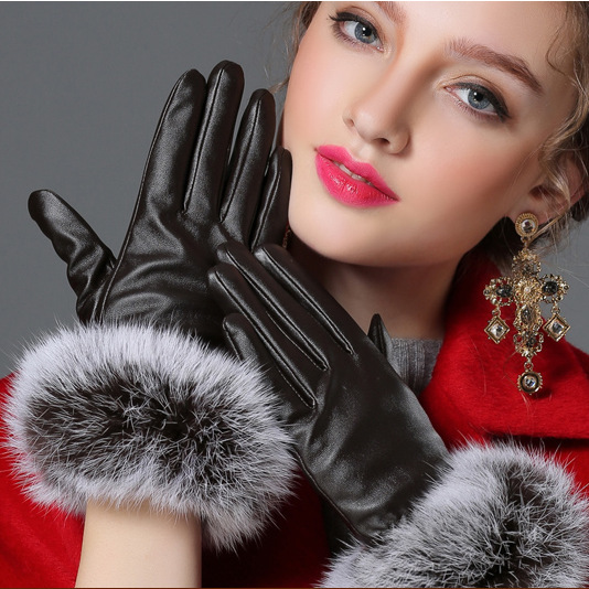 2016 Beautiful rabbit fur ball PU glove Winter woman's leather glove brand designer