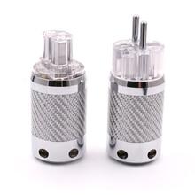 Hallo End Carbon Rhodiniert SCHUKO EU Schuko Power Stecker Elektrische Stecker + IEC Jack für hifi Power kabel 20mm