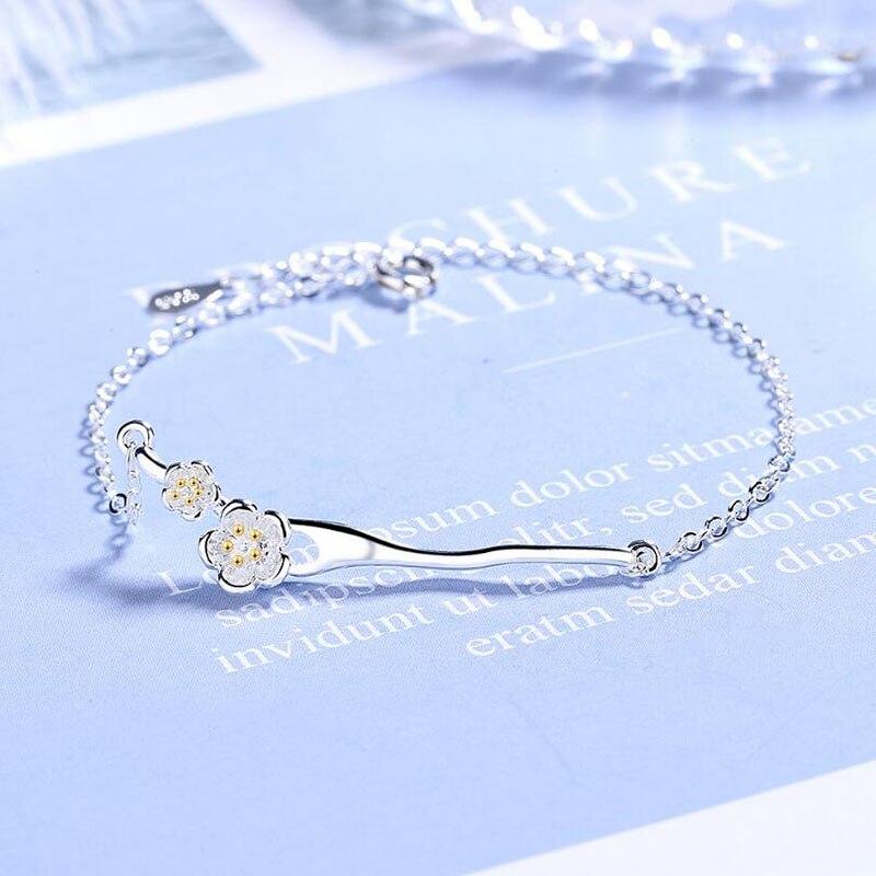 KOFSAC Latest Female 925 Sterling Silver Bracelets Elegant Cherry Blossom For Women  Jewelry Birthday Present