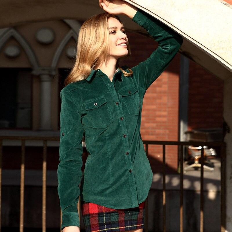 Veri Gude Spring and Autumn Corduroy Blouse Women Shirt British Style Slim Fit Long Sleeve 9