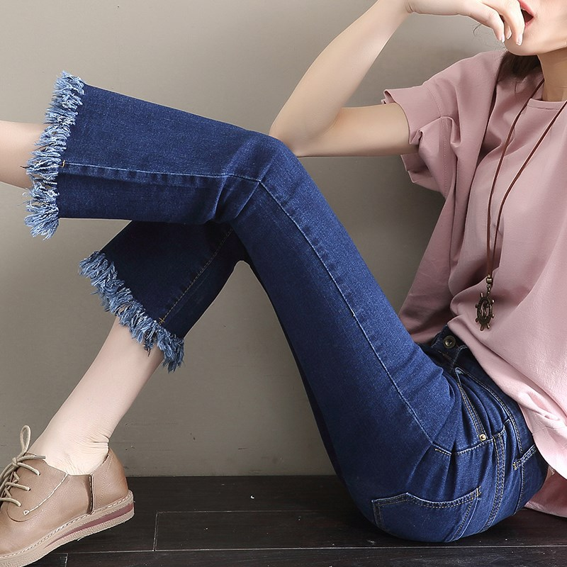 2019 New Spring Boyfriend   Jeans   For Women Blue Mid Waist Wide Leg Flare Black Denim Skinny Trousers Plus Size