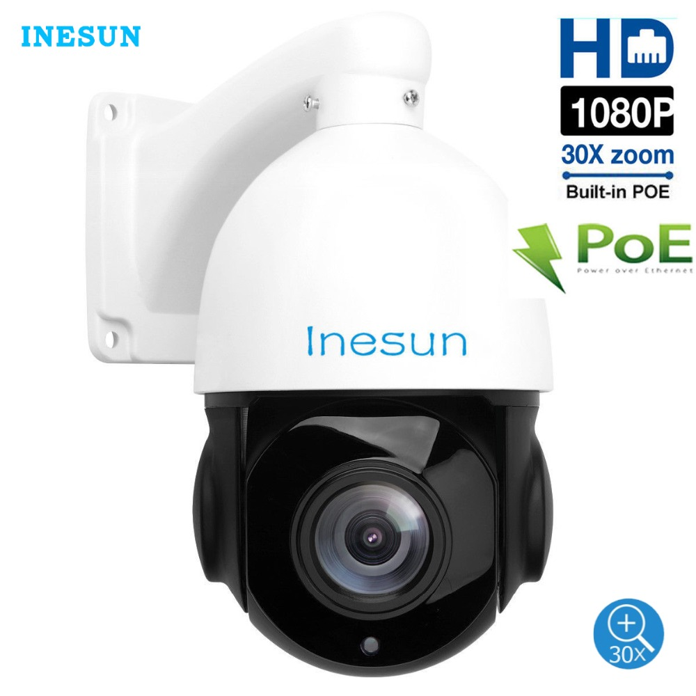 Inesun H.265 Outdoor PoE PTZ IP Camera HD 1080P 2MP 30x Optical Zoom Waterproof Support Motion Detection IR Night Vision 300ft