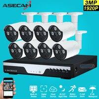 Nieuwe Super Full HD 8CH 3MP Thuis Outdoor Cctv-systeem Kit 8 Kanaals Array LED CCTV AHD Camera 1920 P Bewakingscamera Kit