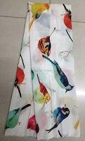 (5 yards/lot) NSL7514-1, lovely birds silk fabric for lady dress digital prints silk CDC fabric silk crepe de chine silk 12mm