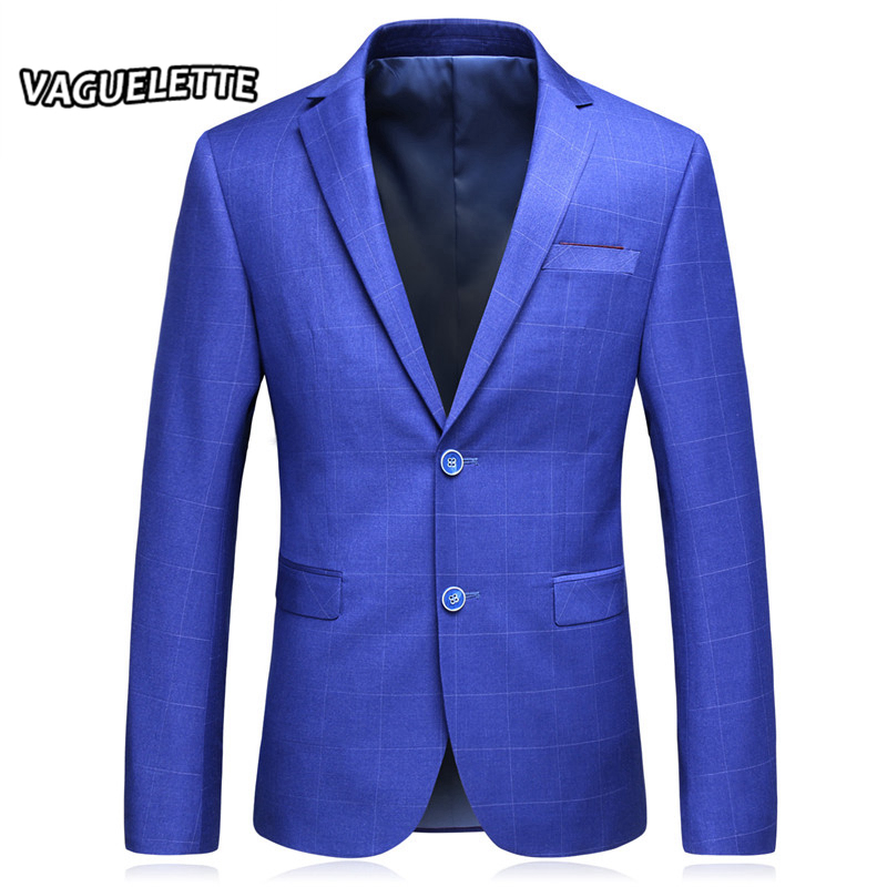 Royal Blue Plaid Men Blazers Designs Stylish Male Suit