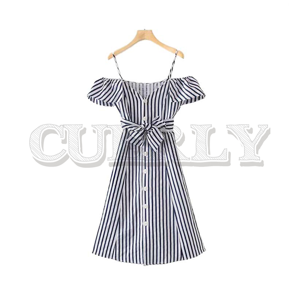 CUERLY women striped print slash neck midi dress off shoulder bow tie sashes ruffled single breasted female elegant dresses