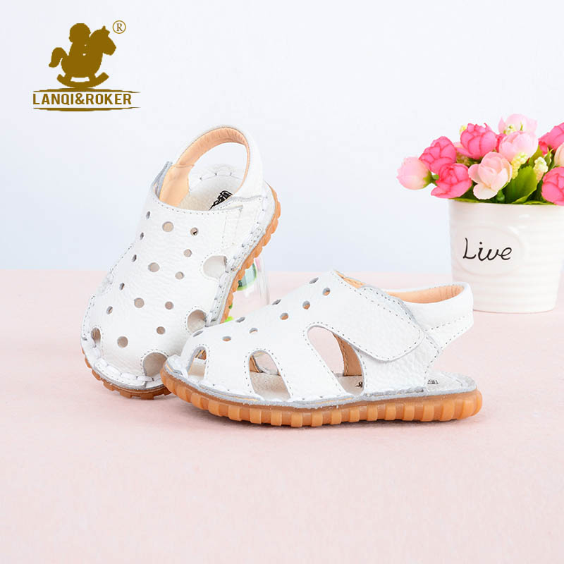 LANQI&ROKER New Children Sandals Fashion Solid Boys Girls Soft Genuine Leather Sandals Kids Hollow out Summer Spring Sandals