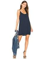 블루밍 젤리 섹시한 스파게티 스트랩 드레스 민소매 블루 쉬폰 미니 드레스 여자