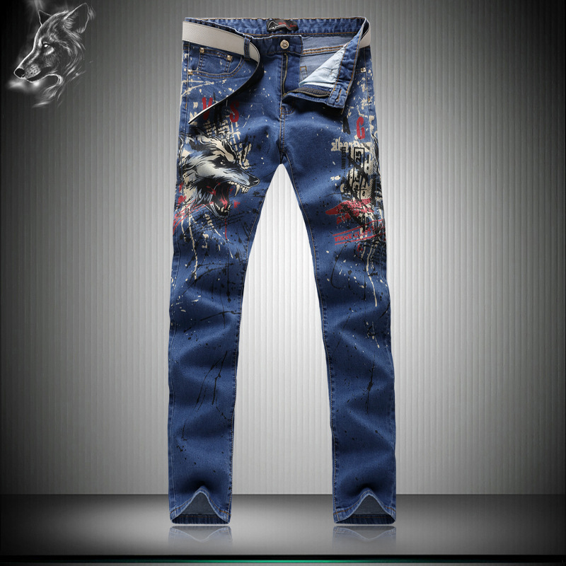 ФОТО 2016 New Wolf Pattern Trousers Explosion Models Hipster Fashion Series Korean Version Men's Jeans