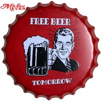 [Mike86] free beer bar bottiglia domani cappellini parete di arte del metallo antico vecchio negozio piastra pub pittura decor 40 cm bg-82