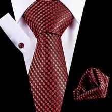 Mens Tie Black Paisley 100% Silk Classic Hanky Cufflinks Set For Men Formal Wedding Party Groom Hot Sell