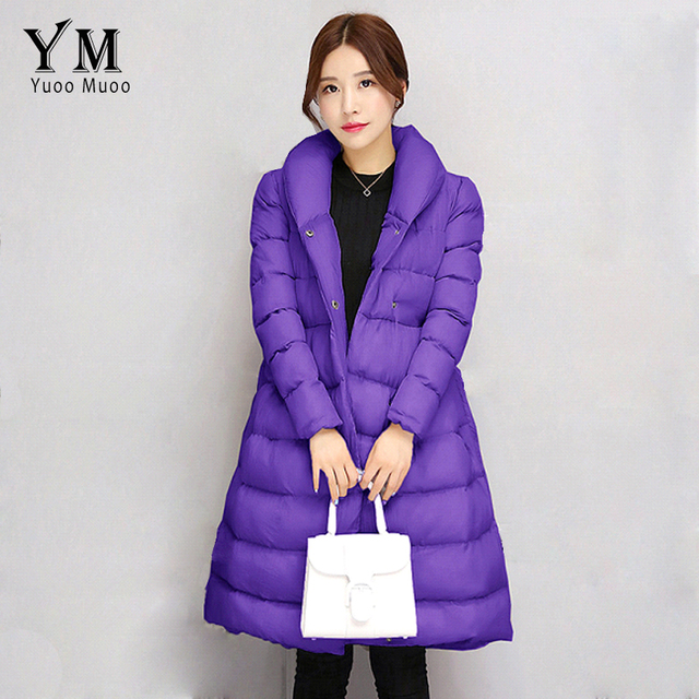 YuooMuoo New Korean Fashion A-line Women Winter Coat Warm Cotton Padded Parka Elegant Women Jacket with Belt Wholesale