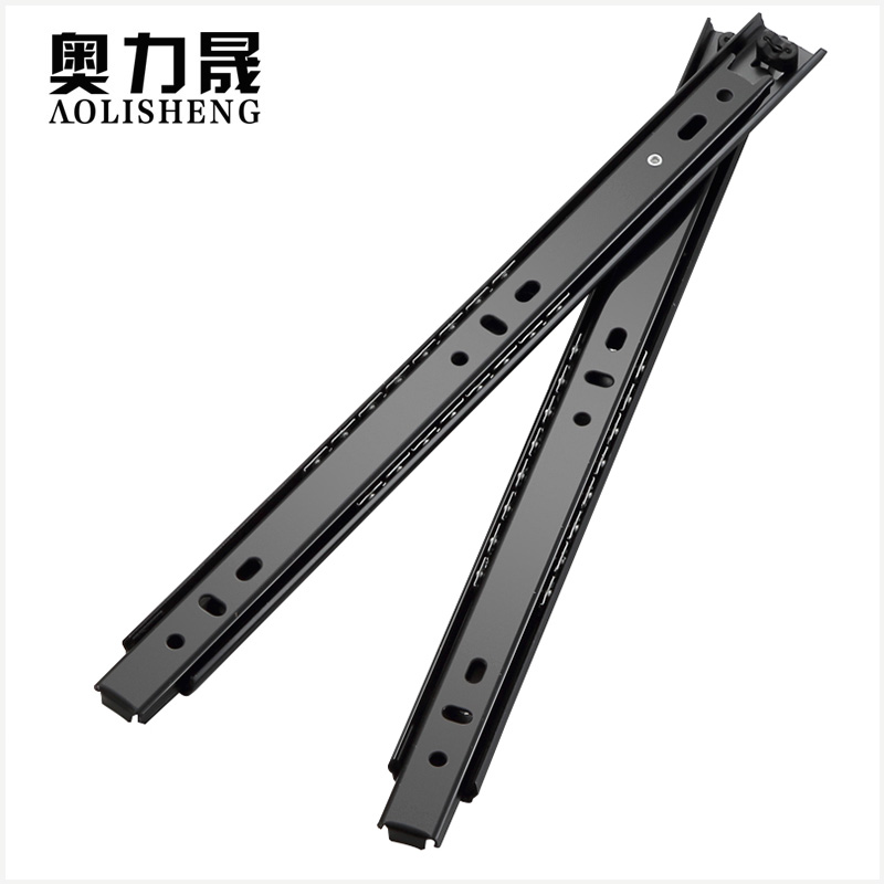 Image 5 - Free Shipping 27mm Width Two Sections Ball Bearing Telescopic Furniture  keyboard tray  Drawer Slides Rail-in Slides from Home Improvement