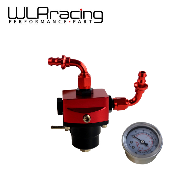 WLR RACING - DIY Black&Red fpr AN6 Fitting EFI fuel pressure regulator Universal with 2PCS PUSH ON LOCK HOSE END FITTINGS racing fuel regulator delivery adapter