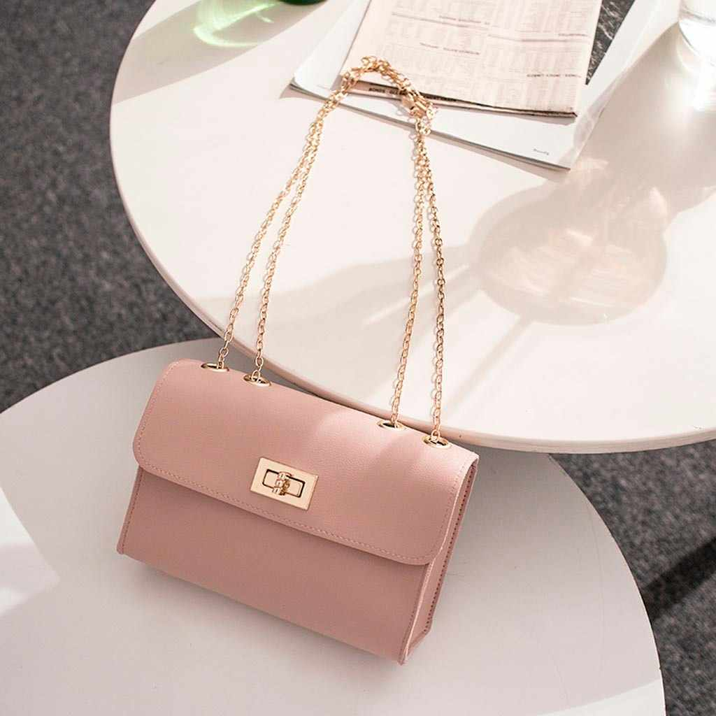 Simple Solid Shoulder Crossbody Bag For Women High-quality PU Leather Chain Phone Messenger purse bolso mujer sac a main femme
