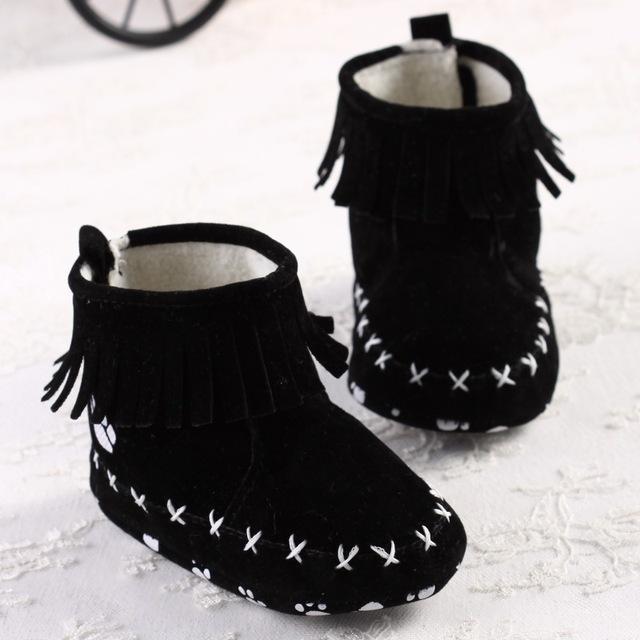 4 Colores zapatos de Bebé Inferiores Suaves Princesa Invierno Cálido Algodón Botas de Flecos Para Niñas Niño Recién Nacido Niños Zapatos
