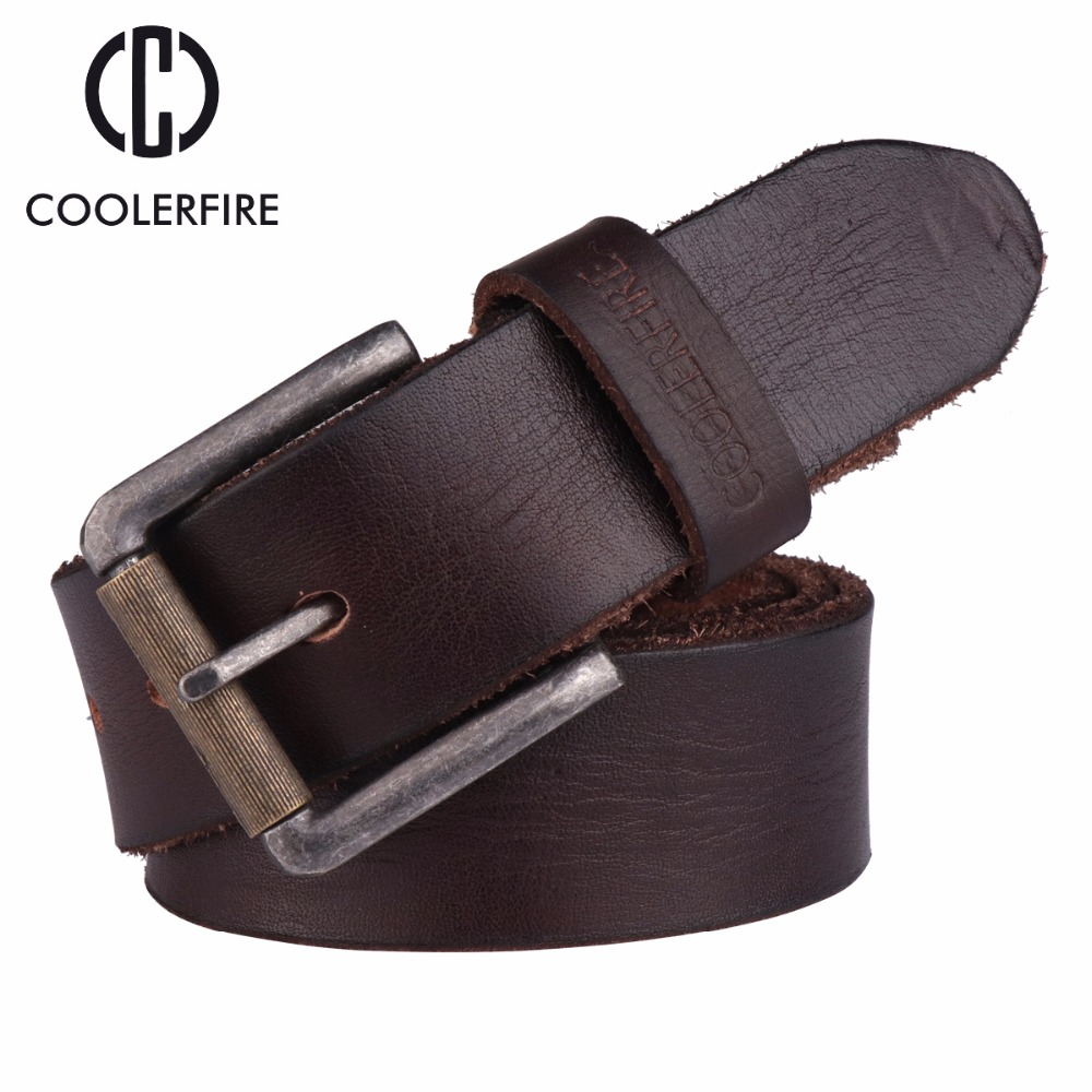 2017 Top Cow genuine leather   belts   for men alloy buckle fashion style FULL GRAIN male   belt   free shipping TM054