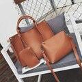 New 3-in-1 Designer brand leather bolsas femininas women  ladies pattern handbag shoulder bag female tote sac crocodile bag 2017