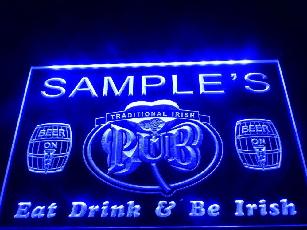 Dz002 Name Personalized Custom Irish Pub Shamrock Bar Beer