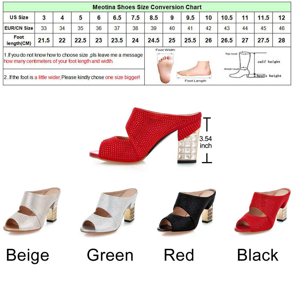 Meotina Mulheres Sexy Sapatos de Verão Peep Toe Festa À Noite Saltos Altos Grossos Sandálias Sapatinho De Cristal Prata Slides Lâminas Senhoras Vermelho