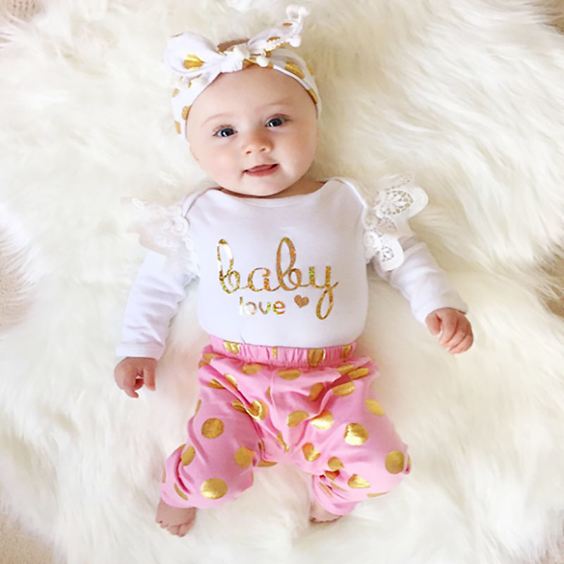2018 Newborn Baby Girls Clothes Cotton Fashion Letters Printed Long Sleeve Infant Tops Rompers +Pants Baby Girl Outfit Set