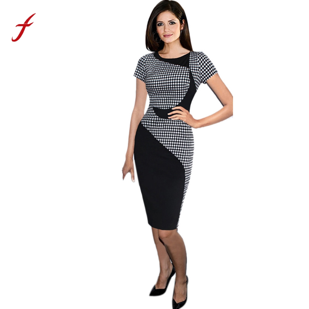 2018 New Style Summer Dress MUQGEW Elegant Women Business Sexy  Short Sleeve Dress Office Bodycon Dresses MUQGEW Plus Size short dresses office wear