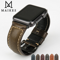 MAIKES Genuine Leather Watch Strap Vintage Cow Leather Bracelet For Apple Watch Band 42mm 38mm Series