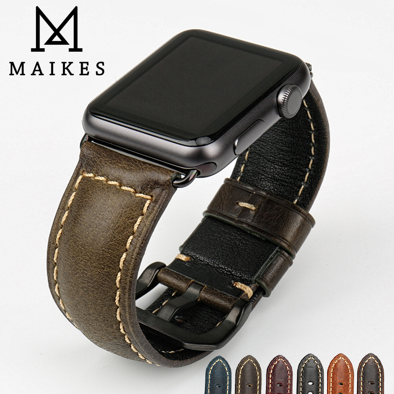 MAIKES Genuine leather watch strap vintage cow leather bracelet for apple watch band 42mm 38mm series 3/2/1 iwatch watchband istrap black brown red france genuine calf leather single tour bracelet watch strap for iwatch apple watch band 38mm 42mm