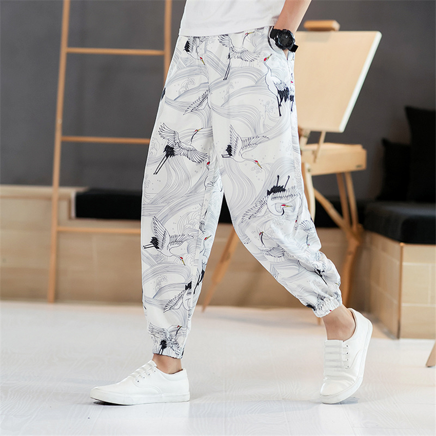 Harajuku Crane Printed Man Pants Japanese Fashion Style Summer Casual Beach Wear Loose Wide Leg Trousers Kimono Streetwear