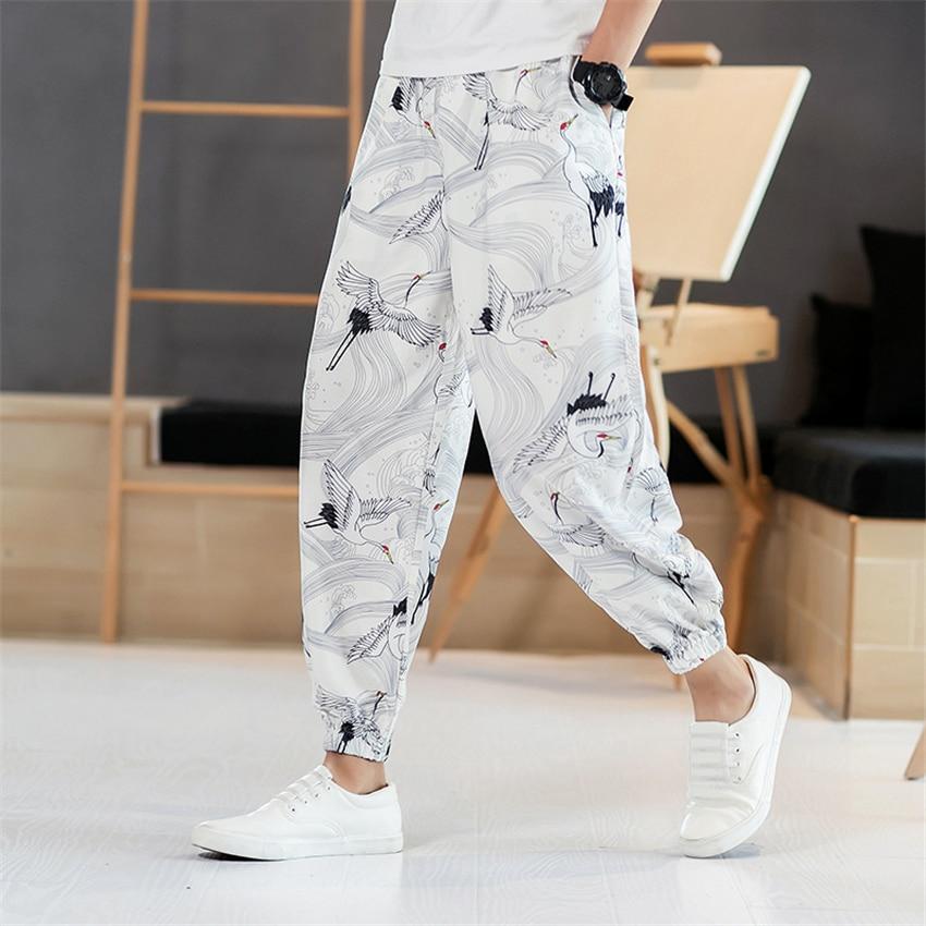 Harajuku Crane Printed Man Pants Japanese Fashion Style Summer Casual Beach Wear Loose Wide Leg Trousers Kimono Streetwear
