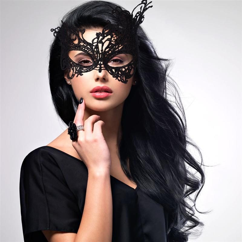 NEW LADIES HALLOWEEN LACE EYE MASK MASQUERADE BLACK//RED VENETIAN FANCY DRESS