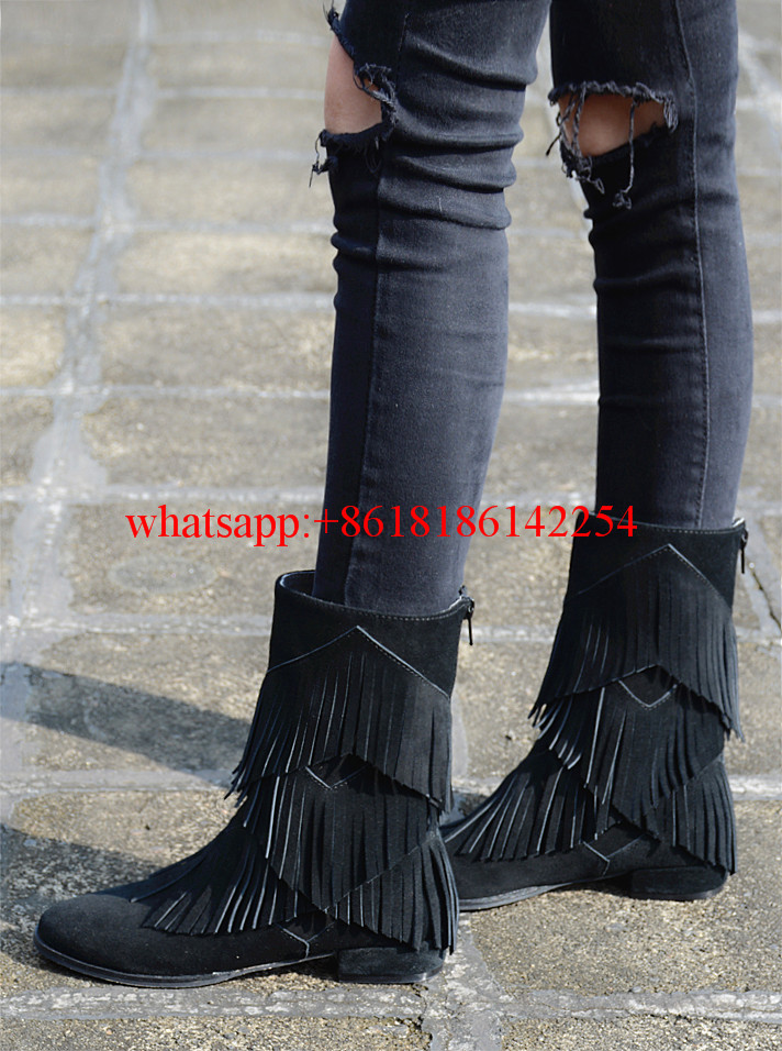 2016 Leather Shoes Female Autumn/Winter New Flat Heel Round Toe Ankle Boots Tide Martin Boots Women Flat-Bottomed Tassel Boots