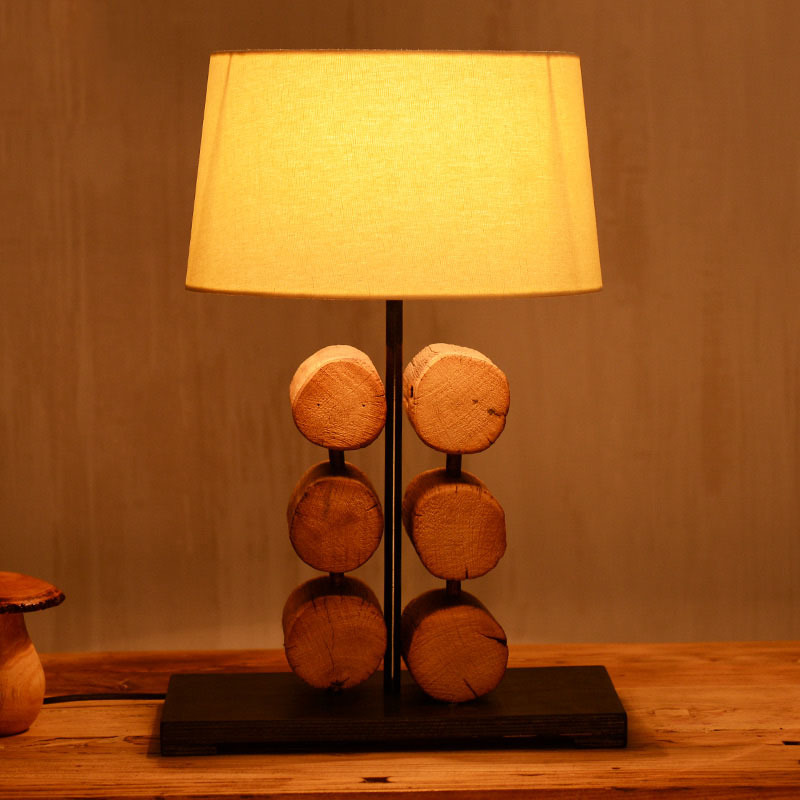Creative Southeast Asia Pastoral Original Wooden Fabric Led E27 Table Lamp For Living Ro ...