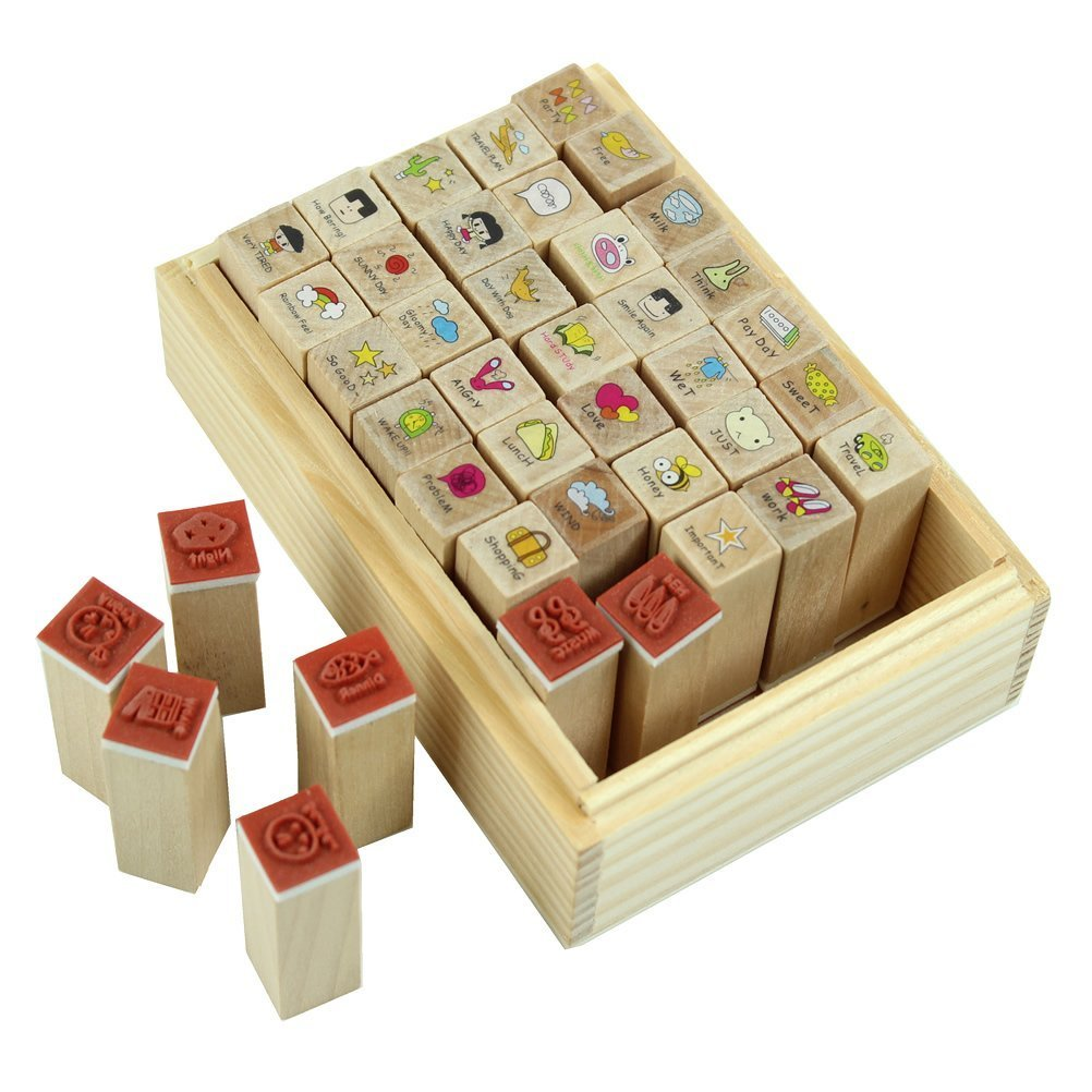 HGHO-40pcs/set Wood Stamp Happy Life Diary Girl Cute Cartoon Mounted Rubber Stamp Wooden stamp