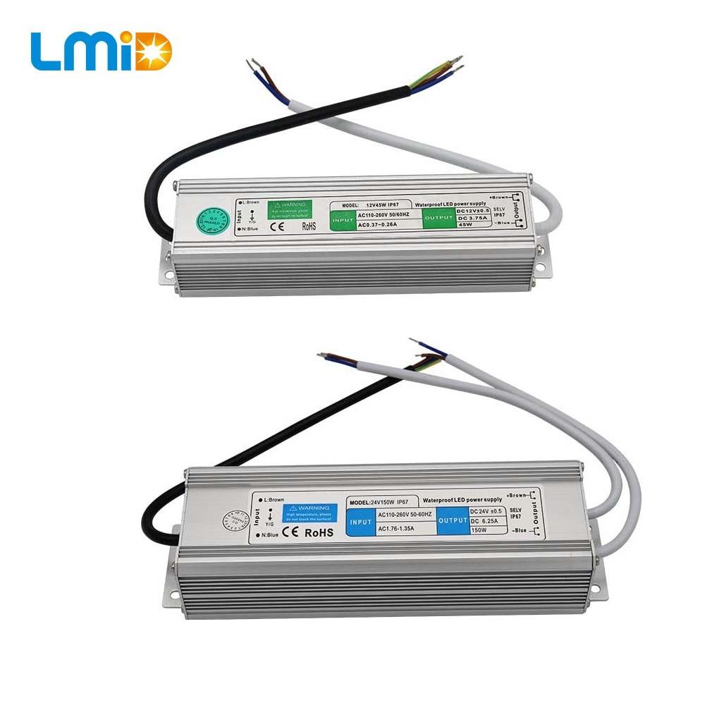 IP68 Waterproof LED Driver 50-60Hz 10W 30W 50W 60W 100W 120W 300W LED Power Supply AC90-265V Lighting Transformers For LED Power