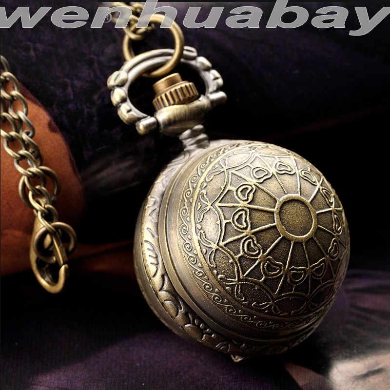 Гарри Поттер кулон Золотой снитч ожерелье карманные часы в форме мяча бронзовые крыло Металлические кварцевые винтажные часы цепочка для женщин и мужчин
