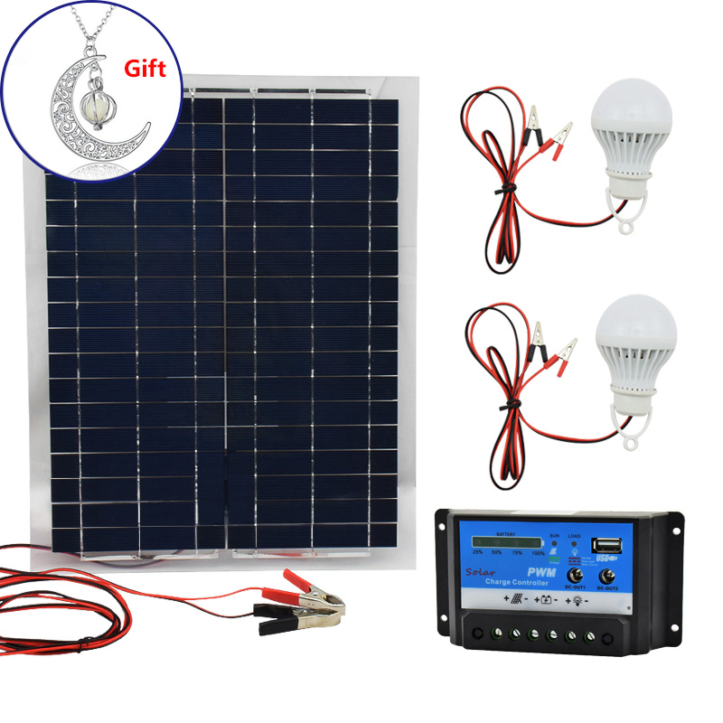 20W 12V Polysilicon Silicon Solar Panel+ PWM 10A Charge Controller Battery Charger Kit +2 LED Light For RV Car Boat Tourism 100w 12v monocrystalline solar panel for 12v battery rv boat car home solar power