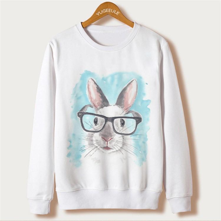 Animal Rabbit Print Sweatshirts Full Sleeve O-Neck White Kawaii Hoodies New Fashion Sweatshirts Autumn Harajuku Loose Pullovers 15