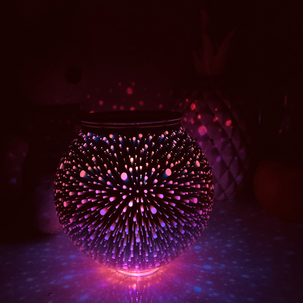 3D LED Fireworks Glass Night Light Colorful Glass Ball Desk Lamp Home Decor Kid Christmas Gift Solar Power