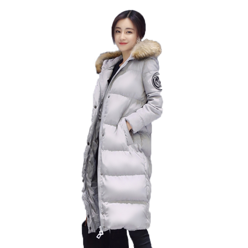 Women s winter jacket the new 2016 heavy hair collar hooded with long Polyester Wadding cotton