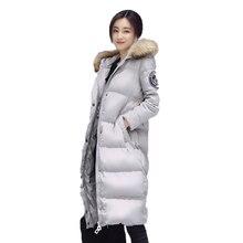 Женская зимняя куртка, новый 2016 тяжелые волосы воротник капюшоном с длинным Синтепон хлопка-ватник женщин пальто