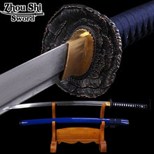 hand forged folded steel japanese samurai sword  katana Rustic tsuba Ginsu knives Practical Sharp