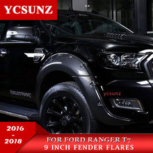 carbon fiber fender flares for ford ranger T7 wildtrak accessories mudguards 2016 2017+ car rangers parts