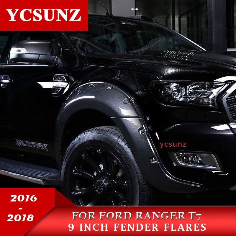 9 pouces fibre de Carbone élargisseurs d'ailes Garde-Boue passage de roue Pour Ford Ranger T7 Wildtrak 2016 2017 2018 Double Cabine