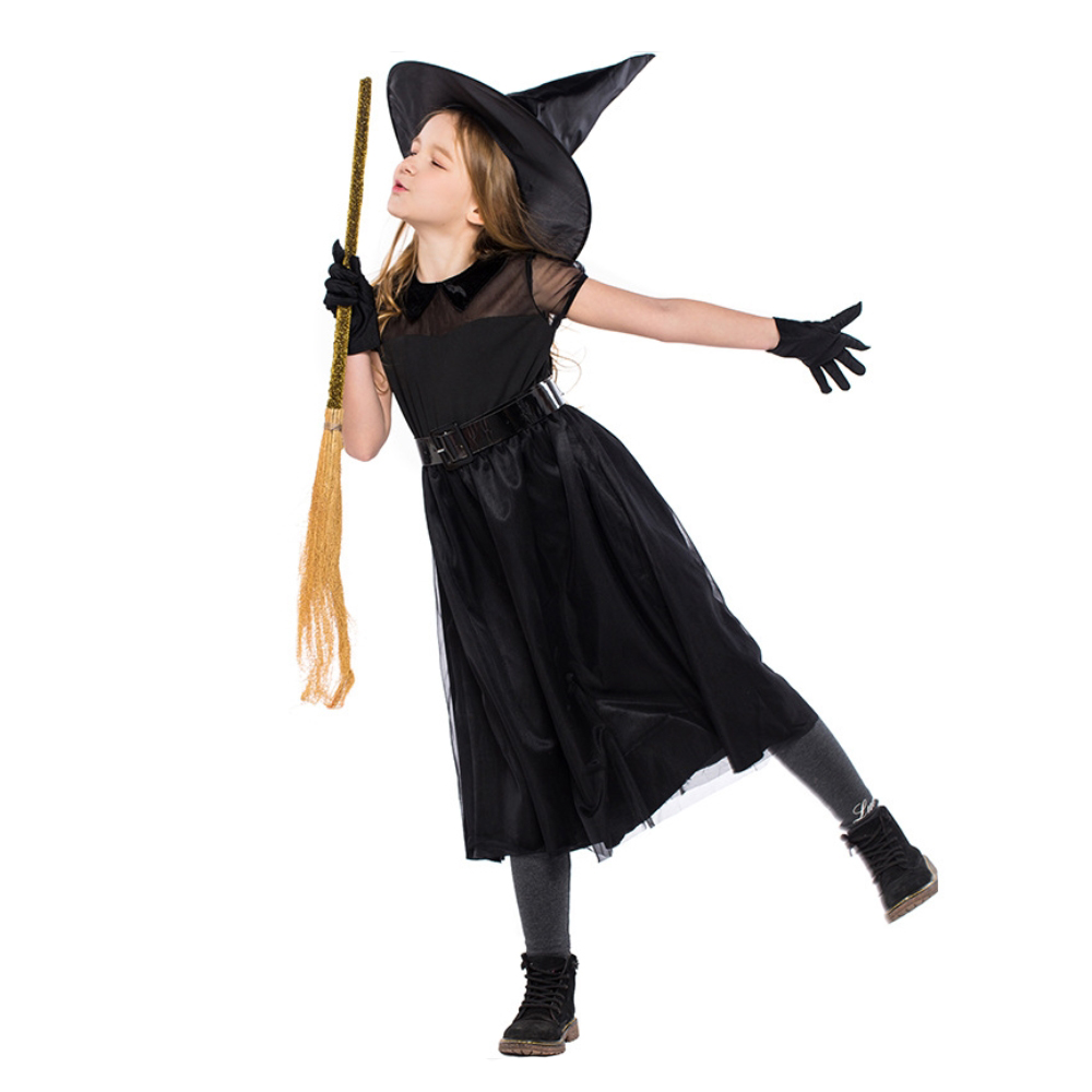 Halloween Witch Costumes for Kids Black Dresses For Girls Cute Halloween Cosplay Costume With Witch Pointed Hat For Girls S-L