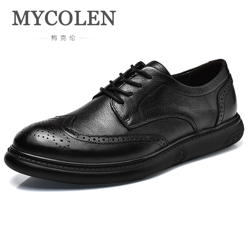 MYCOLEN New 2018 Fashion Men Casual Shoes Leather Autumn Spring Breathable Luxury Brand Handmade Shoes For Men Leather Shoes mycolen new men shoes loafers leather white men s casual shoes brand comfortable spring autumn fashion breathable man shoes
