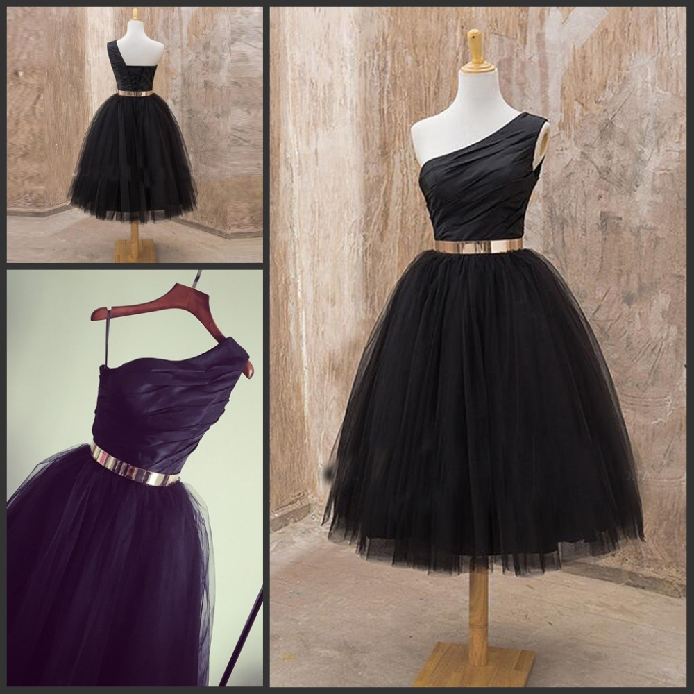 Black dress gold belt - Simple One Shoulder Black Tea Length Prom Dresses With Gold Belt Tulle Tutu Women Evening Party