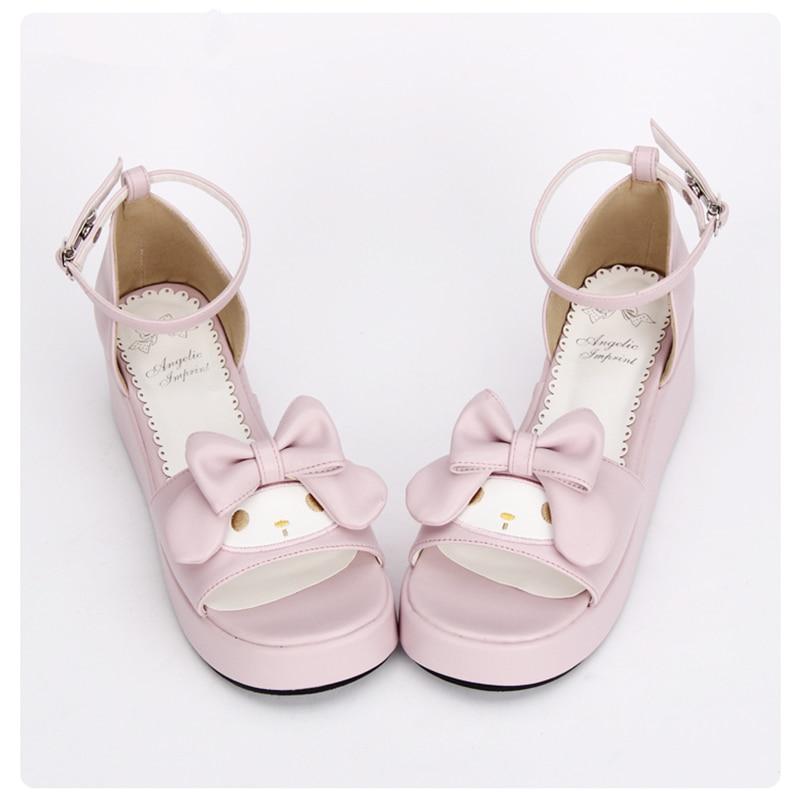 الحلو الوردي الأميرة الفتيات لطيف أرنب صندل أحذية مريحة إسفين لوليتا الصنادل-في الكعب المتوسط من أحذية على  مجموعة 3