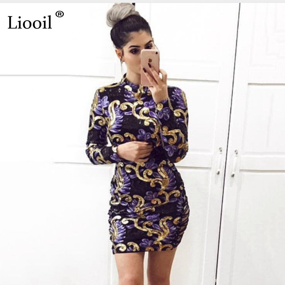 50e82d4e9018 Liooil Lace Up Colorful Sequin Dress Sexy Hollow Out Long Sleeve ...